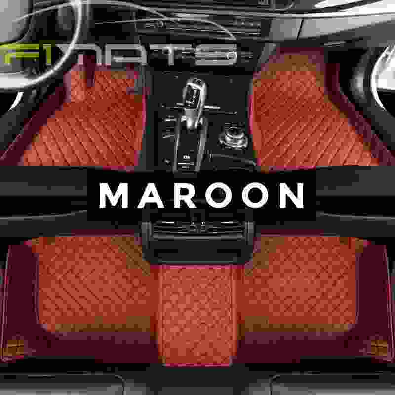 Flower Car Mats Maroon Floor Set