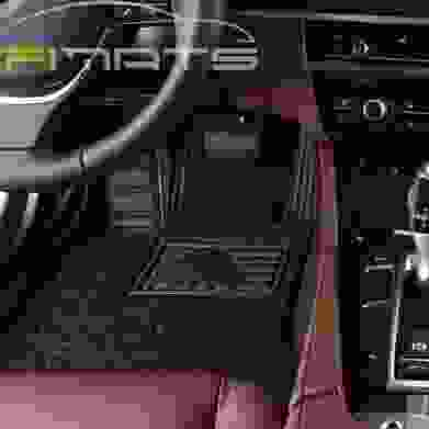 Stripe Car Mats Dark Brown and Black Floor Set